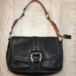 Coach black leather satchel